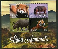 ST. KITTS 2016   LAND MAMMALS RED PANDA TIGER HIPPO &  RHINOCEROS SHEET MINT NH