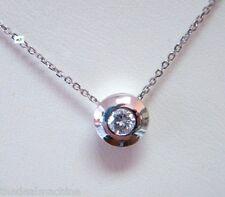 Dazzling Round Brilliant Diamond Solitaire Pendant Necklace 14K Gold Bezel Set