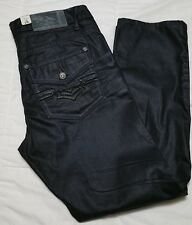 Antique Rivet Mens Black Coated Jeans AR1341 Skinny No.30 Wallace NWT Size 36X30