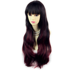 Fabulous Style Black Brown & Burgundy Long Wavy Lady Wigs Dip-Dye Ombre hair.