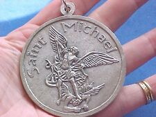 "Large ARCHANGEL ST MICHAEL Protection 2-3/8"" Across Saint Medal Prayer Italy"