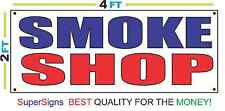 2x4 SMOKE SHOP Banner Sign Red White & Blue NEW Discount Size & Price