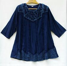INDIGO DENIM Tunic Top Womens Plus dress size XXL 2X Dark Navy Blue Scoop Neck