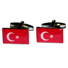 Red & White Turkish Flag Cufflinks & Gift Pouch Country Flags Present New