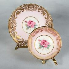 ELEGANT PARAGON TEACUP & SAUCER - WHITE PINK BAND LAVISH GOLD & ROSE CENTRE