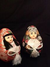 Japanese Asian Gofun Wedding Dolls Ball Round Bride Groom Set Kimono Brocade