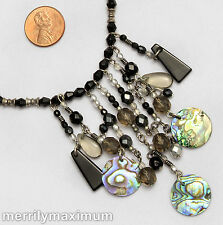 Chico's Signed Necklace Silver Tone Chain Dangle Bib Abalone Shell Black Gray