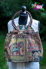 Large Tapestry 'Carpet' Handbag Bag With Elephant Design & Wooden Beads