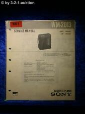 Sony Service Manual WM 2013 Cassette Player (#0681)