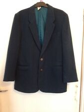 Women's Used Dark Green Smart Blazer Jacket Fleece Size 34 Vintage C&A Felt Fabr