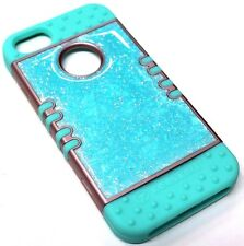 for iPhone SE 5 5s Mint Blue Glitter Crystal Hybrid Rubber Protective Skin Case