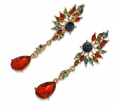 "Thompson Luxury ""SABRINA"" fantastiche Water Drop Orecchini Blu Rosso Oro Plated"