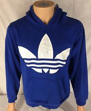 Adidas Big Logo Trefoil Hoodie Sweatshirt Size Medium Blue Kangaroo Pocket
