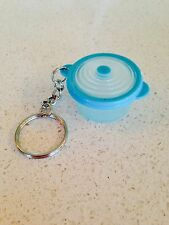 Tupperware Key Chain Keychain Stuffables Bowl Miniature Caribean Aqua Blue Bowl