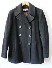 O-321 Calvin Klein Women winter wool pea-coat charcoal color US size-6