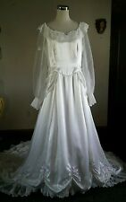 Vtg White Satin Southern Belle Bride Bows Cathedral Bustles Wedding Dress L
