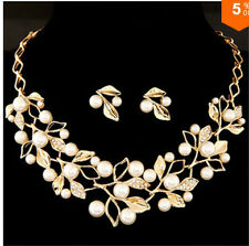 Unique Trendy Fashion Designer Pearls Leaf Necklace And Earrings Jewellery Set
