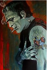 "Lowbrow Broken Hearted Print 12"" x 18"" Poster Tattooed Frankenstein Monster USA"