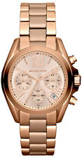 Michael Kors Ladies Bradshaw Rose Gold Tone Chronograph Designer Watch MK5799