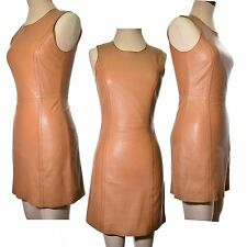 Leather dress tan sheath short zip back fully lined UK Size 6