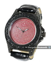 mens diamond big black xls ice out watch clubbing bling red dial warranty maxx