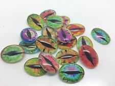 20 x Oval glass cabochon eyes Dragon Cat Lizard Fit 13x18mm Tray Flat Back