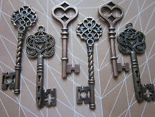 6 Mix Steampunk Antique copper vintage Keys Charm Pendant findings wedding fancy