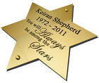 """Engraved Brass Plaque Sign Bench Plate Memorial 4"""" Star Solid Polished Brass"""
