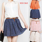 Womens Cute High Waist With Belt Pleated Floral Chiffon Short Mini Skirt Dress