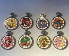 Disney 8 Pin Set - Mickey Oswald Stitch Pocket Watch Stopwatch PWP Mystery Pouch