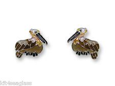 Zarah Zarlite Pelican Post EARRINGS Silver Plated Enamel Bird Stud - Gift Boxed