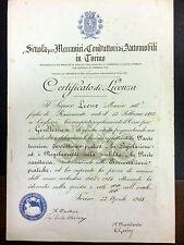 """Diploma della """" Scuola per meccanici e conduttori di Automobili Torino 1913"""