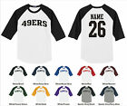 49ers Forty Niners Personalized Name & Number Raglan Baseball Jersey T-shirt