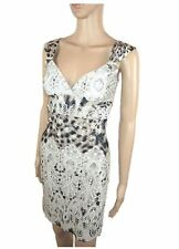 Ladies New Bodycon Party Evening Cocktail Embellish Lace Print Dress sz 8 AB33