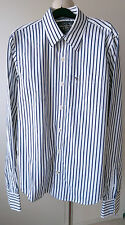 Abercrombie & and Fitch Stripe Shirt White Navy Blue Size L Large Muscle Fit