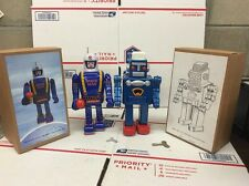 """2 WIND-UP TIN SPACE MAN & Robot - MS 361,360 - 9"""" TALL WITH ORIGINAL BOX AND KEY"""