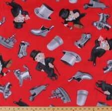 Mr. Monopoly Game Pieces on Red Fleece Fabric Print by the Yard A330.03