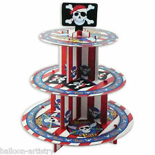35cm Pirate Party Red Stripe 3-Tier Card Cake Cupcake Stand