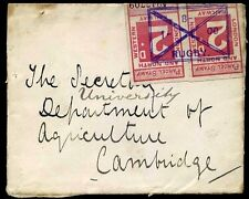 1908 PARCEL STAMPS used in Lieu Railway Letter Stamp Rugby/Cambridge