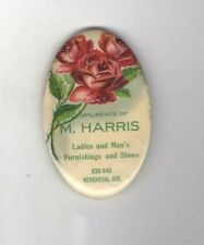 Early 1900s M. Harris Ladies Men's SHOES and FURNISHINGS Pocket Mirror ROSE