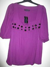 BNWT Ladies Betty Jackson Purple with Black Beads Viscose Top Size 12