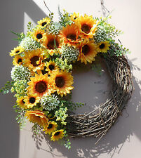 "18"" Summer Sunflower Floral Door Grapevine Wreath Handmade"