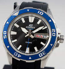 Casio EFM100-1A Edifice Mens Black Blue 200M Divers Watch Sports Solid Case New
