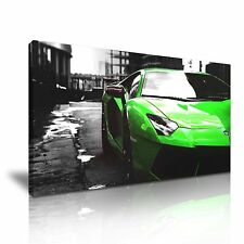 Green Lamborghini Canvas Wall Art Picture Print 60x30cm