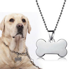 New Silver Bone Beads Chain Dog Tag Pendant Jewelry Engraving Polished Necklace
