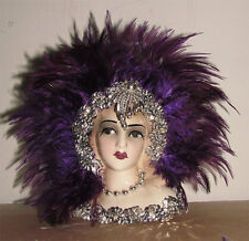 "Unique Creations Small  9' Art Deco Lady Doll Bust Head Vase "" Salida """