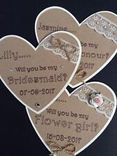 Rustic Vintage 'Will You Be My Bridesmaid' Personalised Heart Shaped Magnet