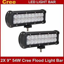 "2X 9"" 54W Cree LED Work Light Bar Flood Offroad Driving SUV Jeep Lamp 12V 24V"