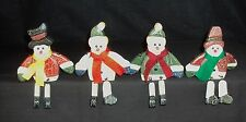 Wooden Snowman Shelf Sitters ~ Set of 4 Winter Holiday Decorations