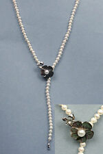 """32"""" long FW pearl necklace with a carved flower shell clasp NKL040032"""